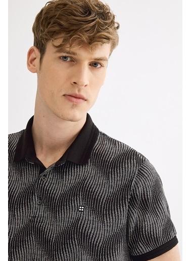 Avva Erkek  Polo Yaka Jakarlı  Tişört A01Y1089 Siyah